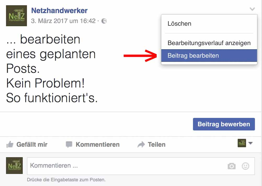 Facebook: geplanten Beitrag nochmal bearbeiten oder Bearbeitungsverlauf anzeigen