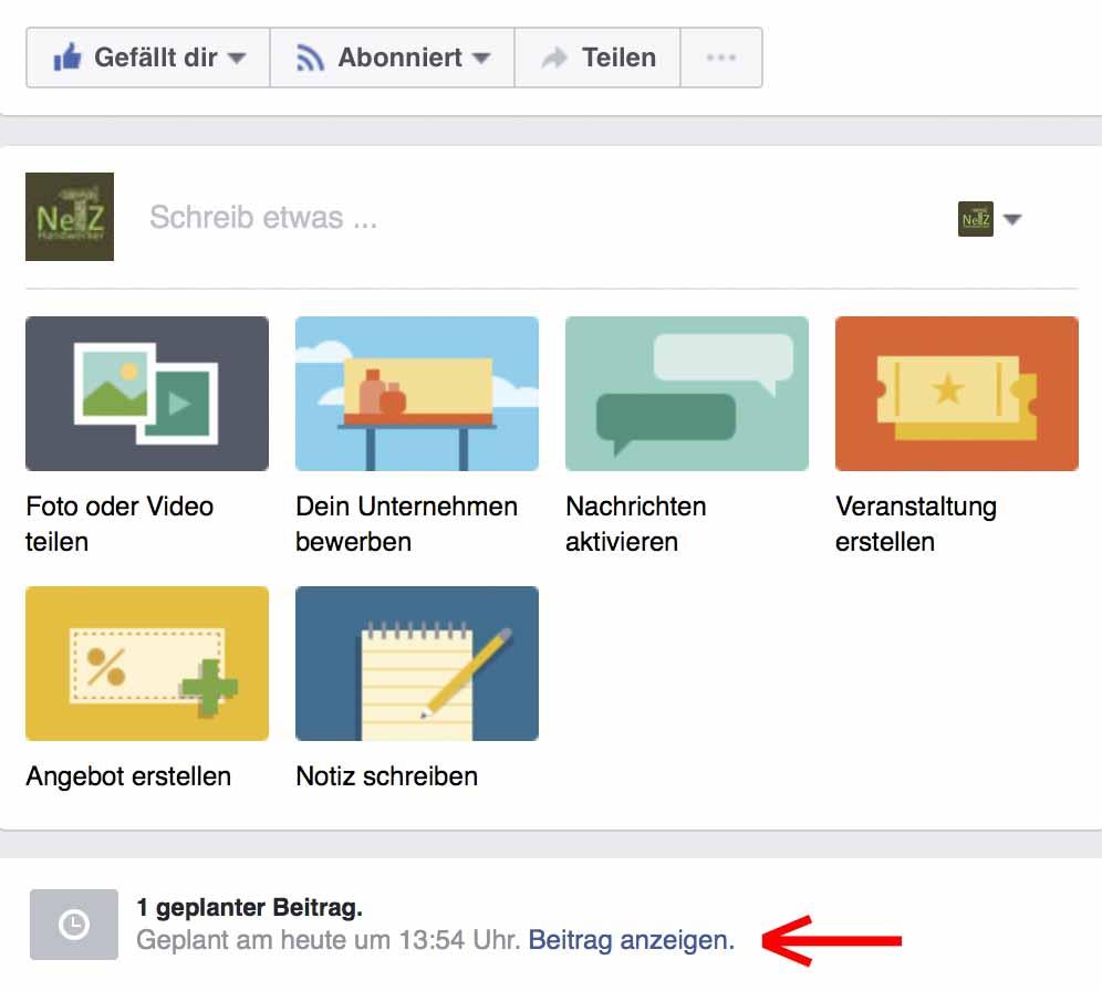 Facebook geplanter Beitrag im Seitenfeed
